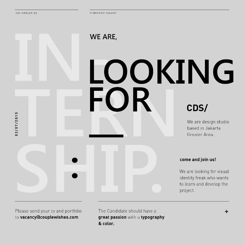 Graphic design internships  CDS/: Graphic Designer Wanted [Internship] | Grafis Masa Kini